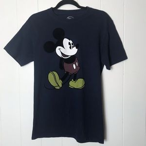 Disney - Navy Blue Mickey Mouse T-Shirt Velvet
